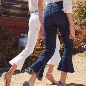 NWT MOTHER the cha cha fray crop flare jeans 27